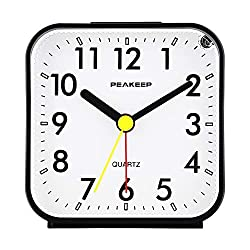 small Peakeeep analog travel alarm clock with small battery, quiet, no ticking, backlit if needed …