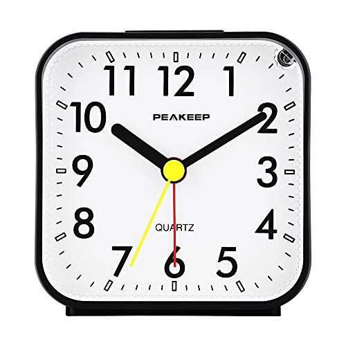 Peakeep Small Battery Operated Analog Travel Alarm Clock Silent No