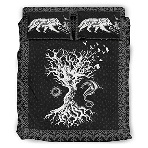 Wandlovers Juego de cama de 4 piezas, diseño vikingo del árbol de la vida, Odin, cuervo y dragón,...