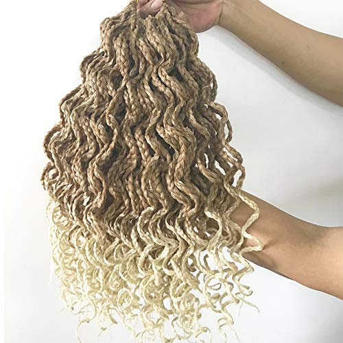 Goddess Box Braids Crochet Braids Hair with Full Curly Braids Blonde Ombre Synthetic Kanekalon Fiber Braiding Hair 14 Inch 5Packs/Lot