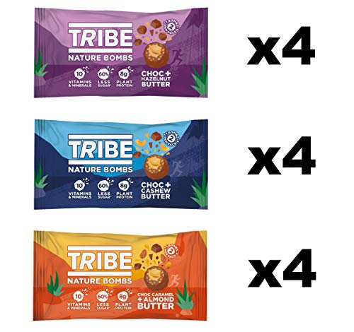 TRIBE Nature Bombs - Mixed Bundle - Vegan, Gluten & Dairy Free, Protein Energy Balls (12 x 40g)