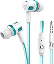Ptron HBE5 Raptor High Bass Earphones In Ear Stereo Wired Headphones With Mic White And Blue