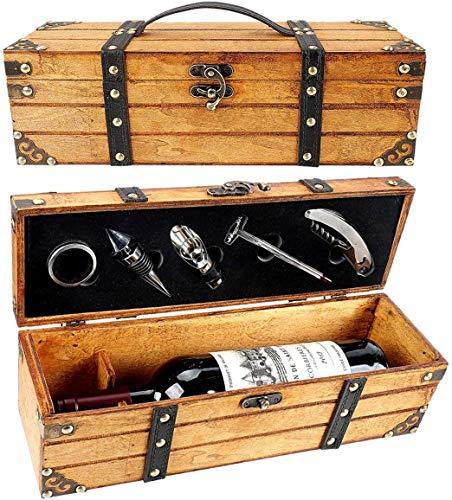 RERXN Antico Contenitore Scatola per Vino,portabottiglie per Vino,Set di Accessori per Vino,Scatola Regalo di Vino in Legno,Tappo per Vino,cavatappi per Vino (Style 02)