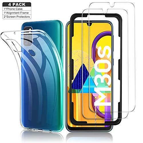 Yocktec Hülle + Panzerfolie Displayschutzfolie für Samsung Galaxy M30s/M21, 9H Gehärtetes Glas Folie mit Transparent Handyhülle Schutzhülle Soft TPU Bumper Case Cover für Samsung Galaxy M30s
