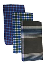 Pappu Mens Poly Cotton Lungies, Set of 3 (Multi Colour) Assorted Checks or Colours