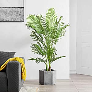 Silk Flower Arrangements Cozy Castle Artificial Areca Palm Plant 60in, 5 Feet Fake Tropical Palm Plant, Faux Dypsis Lutescens Plants, Artificial Plant for Home Decor Indoor, Paradise Palm Fake Tree with Plastic Pot (5ft)