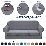 Granbest 4 Piece Premium Water-Repellent Sofa Slipcover for 3 Cushion Couch High Stretch Sofa Cover for 3 seat Sofa Super Soft Fabric Couch Cover for Dogs Pets Furniture Cover (Large, Light Gray)