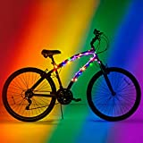 Brightz CosmicBrightz LED Bicycle Frame Lights, Rainbow - 6.5-Foot Light Rope for Bikes - Battery-Powered Pack with On/Off Switch - Available in Ultra-Bright Colors - Fits Kid, Teen & Adult Bikes