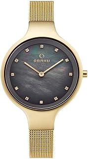 ساعة بمينا رمادية وسوار ستانلس ستيل للنساء من اوباكو - V173Lxgjmg