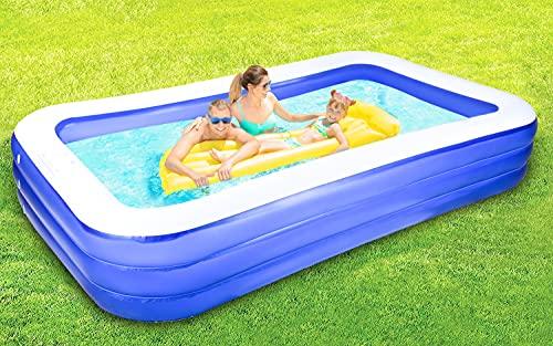 Aufblasbarer Pool, aufblasbarer Familienpool in voller Größe für Kinder und Erwachsene, 297 x 172 x 55 cm, Schwimmzentrum für Kinder ab 3 Jahren, Garten, im Freien, Sommerwasserparty.