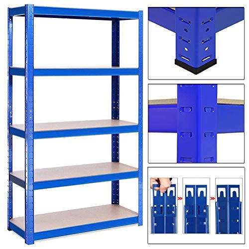 Garage Shed Racking Shelving Unit   Heavy Duty Storage Shelf 175KG Per Shelf 875KG Capacity   Blue, 5 Tier, 180cm x 90cm x 40cm Steel & MDF Boltless Shelves   For Workshop, Shed, Office