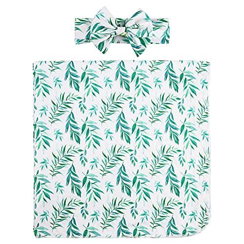 puseky Recibir manta para recién nacidos Conjunto de diadema para bebé con flores impresas, manta para dormir