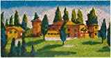 Zerbino Ingresso Casa in Cocco con Base in PVC Dipinto a Mano Raffigurante Borgo Toscano 50X25X2 cm. Facile da Pulire e Ultraresistente