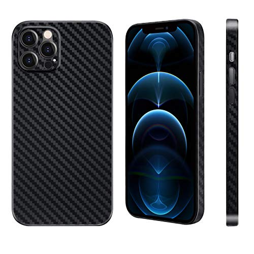 "Carbon Fiber Texture Phone Case for iPhone 12 Pro 6.1"",Rugged Lightweight Slim Shockproof Protective Cover 6g & 0.4mm Compatible with Apple iPhone 12 Pro Case, Black"