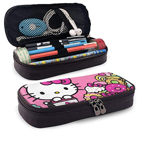 Pencil Case Hello Kitty Cafe Big Capacity Pencil Bag Makeup Pen Pouch Stationery with Double Zipper Pen Holder for School/Office