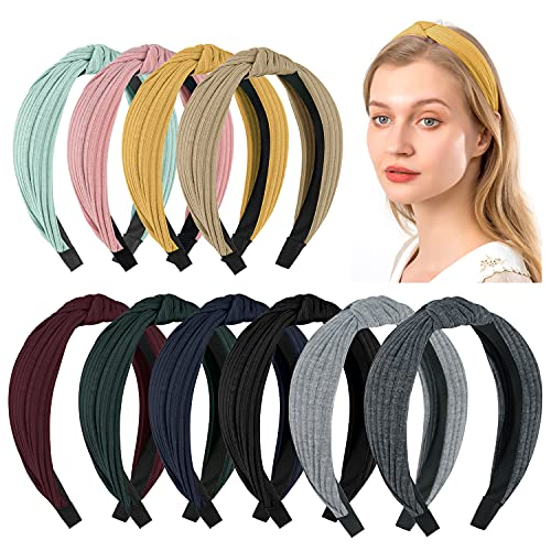Sunolga 10 Knotted Headbands For Women Girl Soft Knitted Headbands For Womens Hair