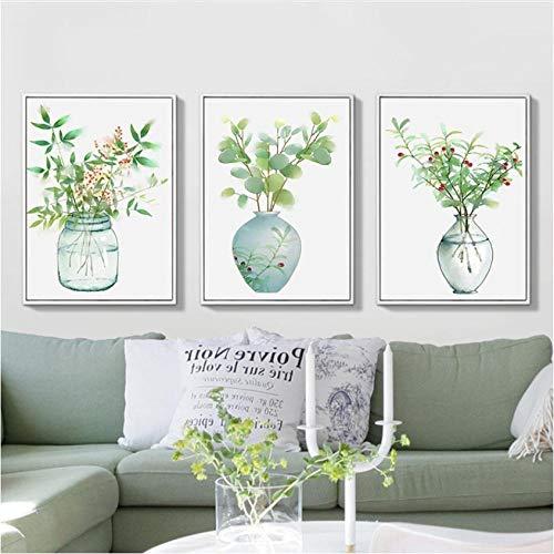 Poster Nordic Green Plant Minimalistische Flesje Art Canvas Afdrukken Muurschilderingen Pop Pictures Woonkamer Home Decoraties50x70CM Geen Frame
