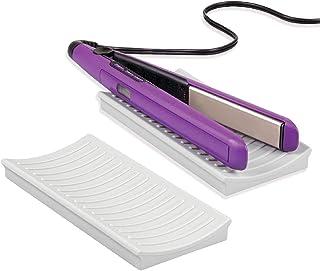 mDesign Juego de 2 protectores de silicona para plancha del pelo o tenacillas – Práctico protector de mesa para el lavabo – Alfombrilla de silicona para superficies expuestas al calor – gris