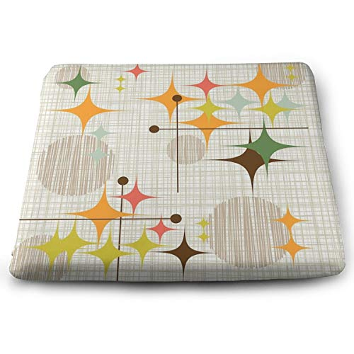 Houity Eames Era Starbursts And Globes 3 Cojín cuadrado 100% poliéster con núcleo de almohada, cojín para silla tatami de piso de 33 x 15 pulgadas