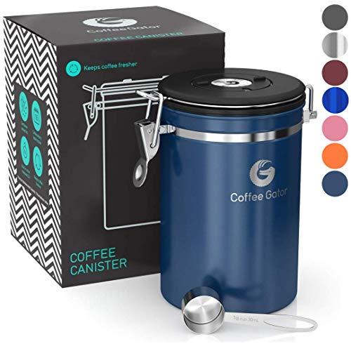Coffee Gator-Edelstahl-Kaffeedose – Hält gemahlener Kaffee und Bohnen länger frisch – Behälter mit Datumsverfolgung, CO2-Freigabeventil und Messlöffel - Groß - Blau