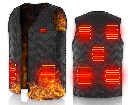【2020進化版電熱ベスト】 電熱ベスト 電熱ジャケット USB充電式 7つヒーター 前後独立温度設定 サイズ調節可能 3段温度調整 ほっとベスト 水洗いでき 軽量 スキー スケート 登山 釣り
