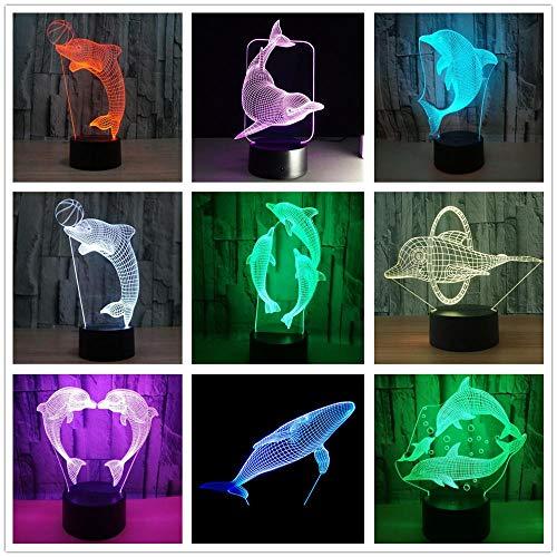 Dolphin 3D LED Night Light USB Lámpara de mesa Niños regalo de cumpleaños Mesita de noche decoración del hogar