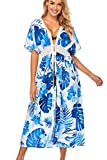 YOUKD Cardigan Floreale Svasato Kimono Sciolto Boho Beach Bikini Cover Up Dress Plus Size Loungewear per Le Donne