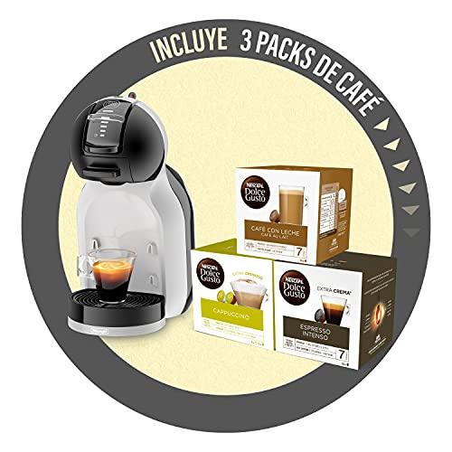 De'Longhi Mini Me Máquina de Café de Cápsulas Dolce Gusto para Café Espresso con 3 packs de café, EDG155.BG, 0,8 L, Color Negro, Gris