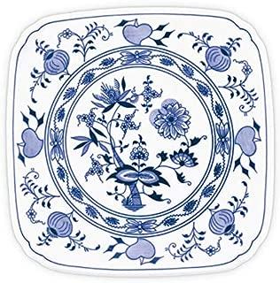 Blue Onion Traditional Czech Porcelain Decor Plate | European Design Tableware | Handmade | Size 8.3