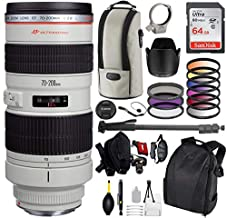 Canon EF 70-200mm f/2.8L USM Lens with Pro Bundle Package Deal Kit for Canon EOS with SanDisk 64gb Card + DSLR Backpack + 9pc Filter Kit + More