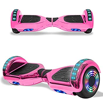TPS Electric Hoverboard Self Balancing Scooter for Kids and Adults Hover Board with 6.5  Wheels Built-in Bluetooth Speaker Bright LED Lights UL2272 Certified  Chrome Pink