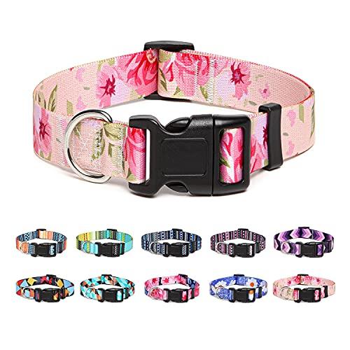 Suredoo Collar Perro, Ajustable y Resistente con Patrones de Moda, Collar Nylon Cómodos para Perros Pequeños Medianos Grandes, Cachorros (M, Rosa)