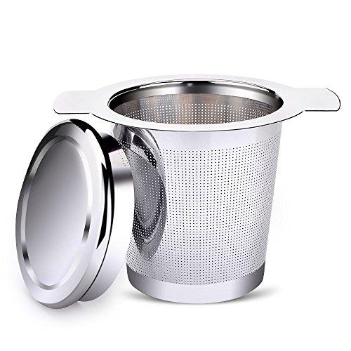 AmazingJP 茶漉し お茶フィルター 茶葉濾過 茶溜めカップ、ポット用 蓋付き 安全健康 ステンレス 耐熱性(シルバー)
