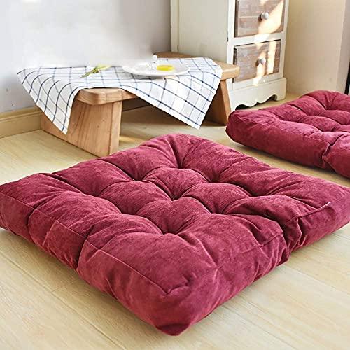 Stuhlkissen 55X55cm,Weiche Stuhlkissen Sitzkissen für Esszimmer/Garten, Haus Auto Büro Sitzkissen - vielen Farben Wine Red 55X55cm