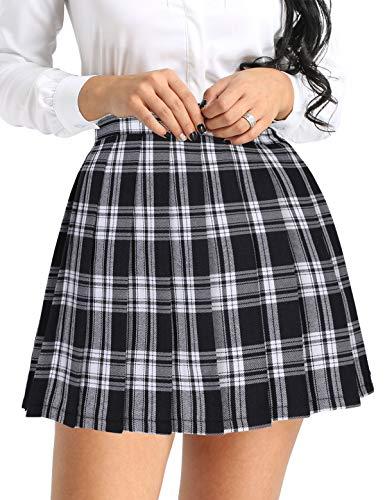 Agoky Damen Faltenrock Schulmädchen Rock High Waist Schulrock Kariert/Einfarbig Japan Scottish Mini-Kilt Tartan Rock Schwarzk&Weiß S