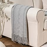 BATTILO HOME Knit Throw Blanket Soft Lightweight Textured Decorative Blanket with Tassel for Bed, Couch (Light Grey, 50'x60')