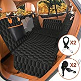 4-in-1 Dog Car Seat Cover for Back Seat, Waterproof Dog Hammock for Car Seat Covers for Dogs with Mesh Window, 100% Scratchproof Nonslip Dog Seat Cover for SUVs, Dog Back Seat Cover for Trucks - Black