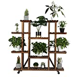 YAHEETECH Rolling Plant Stand Shelf Indoor - 6 Tier Wood Plant Pots Shelves Tiered Flower Rack Holder Stand with Detachable Wheels for Multiple Plants Outdoor Garden Balcony Patio Living Room