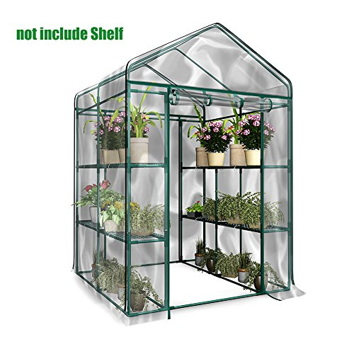 4 Tiers 8 Shelves Walk in Portable Greenhouse,Portable Outdoor Garden Walk-Out Greenhouses,Waterproof UV-proof PE ,for Plant Vegetables Outdoor Garden143 L x 73W x 195H cm(iron Frame Not Included) (A)