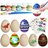 Xinge 8 Pack DIY Painting Wooden Easter Crafts Toys for Kids Holiday Party Favors Stocking Stuffers Gifts with 10 Pieces Dinosaur Tattoos (8pack)