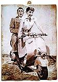 KUSTOM ART Cuadro de estilo vintage Gregory Peck y Audrey Hepburn en la película Vacaciones Romanas de colección, impresión sobre madera