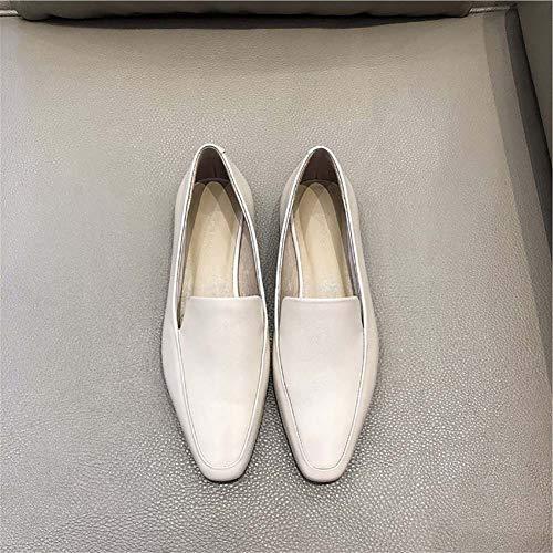 XLY vrouwen klassieke puntige teen platte lagers, casual lederen slip op schoenen voor partij werk Business,wit,35