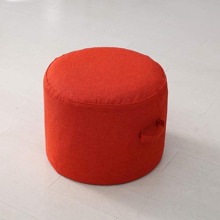 バレーボールセッション武器豆袋 ビーンズ スツール, リムーバブル フットレスト オスマン帝国 プーフ シートクッション 子供 便 綿や麻 カバー 椅子 席-オレンジ 40x40x20cm