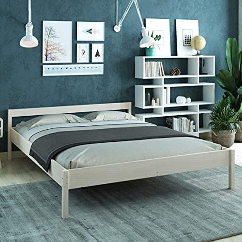 Holzbett 180x200 cm Kaja Scandi Style aus unbehandeltem hartem FSC Birken Massivholz - über 700 kg - Doppelbett Bettgestell mit Kopfteil - Ehebett
