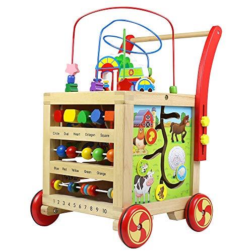 Lauflernwagen Holz mit Aktivitätswürfel für Kleinkind Mädchen Junge ab 1 2 3 Jahre, 7-in-1 Baby Lauflernhilfe Höhenverstellbar Pädagogisches Holzspielzeug Geburtstagsgeschenk