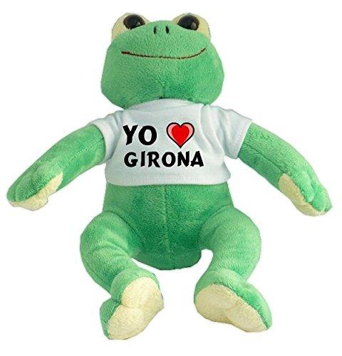 Rana de peluche con Amo Girona en la camiseta (ciudad /