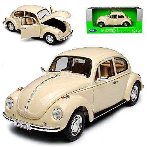 Welly Volkwagen Käfer Coupe Creme Beige Weiss 1/24 Modell Auto mit individiuellem Wunschkennzeichen