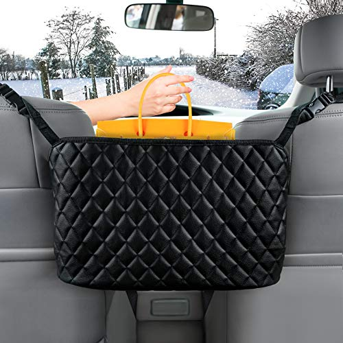 Car Handbag Holder, Leather Seat Back Organizer Mesh Large Capacity Bag for Purse Storage Phone Documents Pocket,Handbag Holder Between The Two Seats of The Car