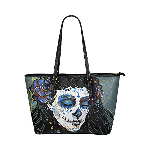 InterestPrint Vintage Sugar Skull Girl With Rose Women's Leather Tote Shoulder Bags Handbags