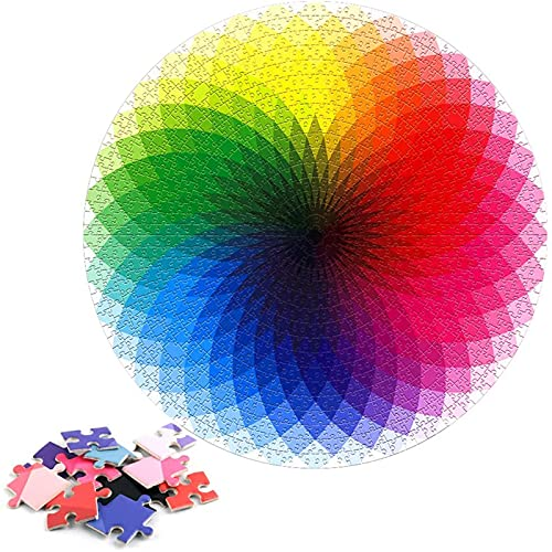 Puzles para Adultos Color Arcoiris 1000 Piezas Puzzle Educativo Redondo Arcoíris Rompecabezas Redondo Papel Adultos Gradiente Adolescente Color Arcoiris Rompecabezas Redondo Grande Difícil